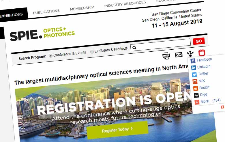SPIE Optics+Photonics 2019