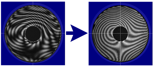 Fringes on a plane-parallel glass disk without SIS (left) and with SIS (right).