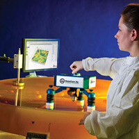 4D Technology's NanoCam Sq dynamic opitcal profiler being used to measure the surface roughness of a large optic