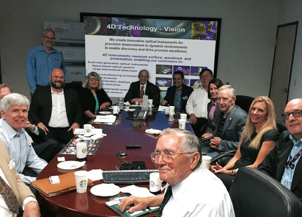 Members of the The discussion was attended by members of the Arizona Technology Council and the Arizona Optics Industry Association attended the round table discussion at 4D Technology's Tucson headquarters