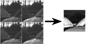 Image enhancement with PolarCam. On the left are the four parsed polarization images. On the right is the enhanced image, with the contrast between the cars and background is greatly increased.