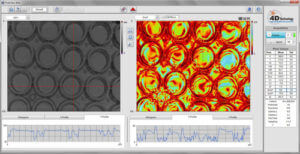This PolarView screen capture shows stress in well plates. The left image shows Average Intensity; the right image shows the Degree of Linear Polarization (DoLP).